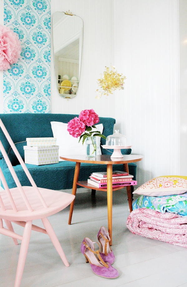 Unique Couches - Teal and Light Pink