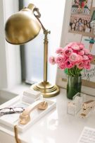 Brass, White and Pink Interior Decor