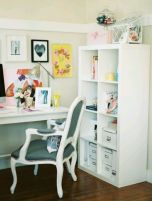 white office chair desk and shelf